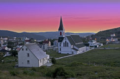 Treenighet Newfoundland, Kanada på solnedgången Arkivbilder