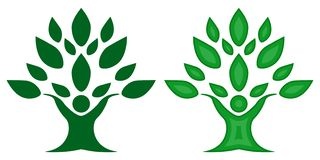 Green color family nature Tree, team symbol vector illustration