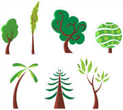 Trees. Illustration set of a stylized trees Stock Photo