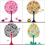 Trees. Vector set of colorful stylized trees: Valentine's day heart tree, autumnal tree with fallen leaves, Halloween bats tree, and colorful easter egg tree vector illustration