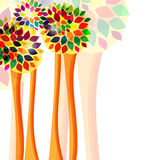 Trees. Colorful trees on the white background Stock Photos
