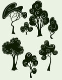 Trees. Stylized trees in black silhouette Royalty Free Stock Photo