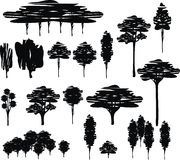 Trees. Black vector illustration isolated trees – cartoon, silhouette, set Royalty Free Stock Photos