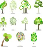 Trees. Collection of the stylized trees Stock Photography