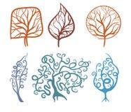 Trees. Winter and summer trees, symbol vector illustration