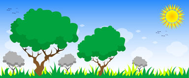 Trees. Grass, sun and clouds Royalty Free Illustration
