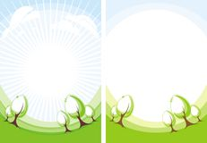Trees. Stylized image of trees, fields vector illustration