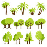 Trees. Vector illustration of assorted trees icons Stock Image