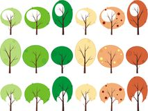 Trees. Symbolic image of trees to design, icons stock illustration