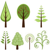 Trees. Set of Retro Styled Trees Stock Photography