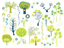 Trees. A collection of cute trees Royalty Free Stock Photography