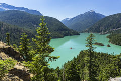 Trees above Turquoise Diable Lake Royalty Free Stock Image