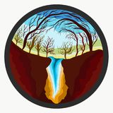 Trees above a waterfall, nature in a round frame royalty free illustration