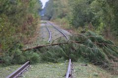 Trees across railroad tracks after Hurricane Florence. Raeford, North Carolina, United States/August 17, 2018: Railroad tracks blocked by trees taken down by royalty free stock image
