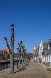 Trees along the central canal in historical Sloten Stock Photo
