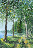 Trees along the lake in the woods. Original oil painting trees along the lake in the woods on canvas. Impasto artwork. Impressionism art Royalty Free Stock Photos