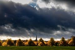 Autumn trees under a dark sky. Trees in autumn colours under a dark autumn sky in Harrogate, North Yorkshire royalty free stock photos