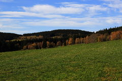 Trees, autumn scenery in the vicinity of Hartmanice, Czech republic Royalty Free Stock Images