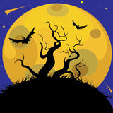 The trees on the background of the moon. Halloween night and bats in the night Stock Images