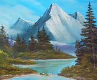 Trees on the bank of mountain lake, picture an oil paint on a canvas Royalty Free Stock Photography