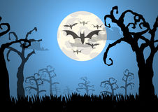 Trees and bats halloween background Royalty Free Stock Photography
