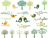 Trees, birds and branches silhouettes Royalty Free Stock Photos
