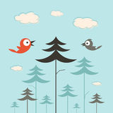 Trees, Birds and Clouds Retro Illustration Royalty Free Stock Photo