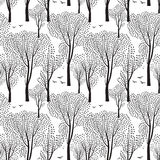 Trees and birds. Nature seamless pattern. Forest background. vector illustration