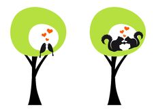 Trees with birds and squirrels, vector Stock Image