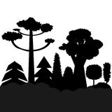 Trees black silhouettes. In a row. vector illustration for forest, wood plants Royalty Free Stock Photo
