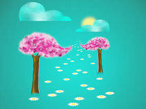 Trees with blossom vector illustration