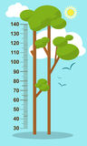 Trees on blue background. Children height meter wall sticker, kids measure. Vector royalty free stock photos