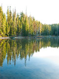 Trees and boat reflected in still lake. Trees of forest and wood boat on beach reflected in clear mountain lake at Waldo Lake, Oregon Royalty Free Stock Photography