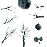 Set of black branches, trees and leaves. Watercolor illustration vector illustration