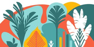 Trees are broad-leaved tropical, ferns. Flat style. Preservation of the environment, forests. Park, outdoor. Vector illustration Stock Photography