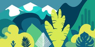 Trees are broad-leaved tropical, ferns. Mountain landscape. Flat style. Preservation of the environment, forests. Park, outdoor. Vector illustration Stock Photo