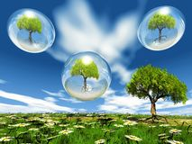 Trees in a bubble Royalty Free Stock Photos