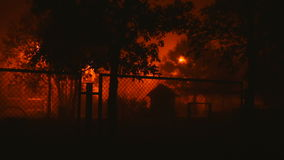 Trees and buildings behind a fence. At night on a background of orange light stock video