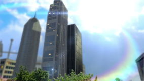 Trees and buildings inside round land at daylight with blurs. And camera moving around it stock footage