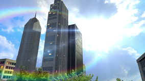 Trees and buildings inside round land at daylight. And camera moving around it stock footage