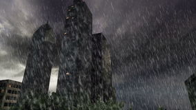 Trees and buildings inside round land with heavy rain at cloudy day stock footage