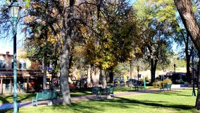 Trees and Buildings. A partial view of the park by the church in downtown Santa Fe Royalty Free Stock Images