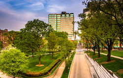 Trees and buildings seen from the Capitol Complex in Harrisburg, Royalty Free Stock Image