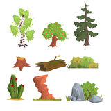 Trees, Bushes and Nature Elements, Vector Set Royalty Free Stock Photography