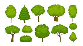 Trees and bushes set of icons. Forest, nature, environment concept. Cartoon vector illustration. Trees and bushes set of icons. forest, nature, environment Royalty Free Stock Photos