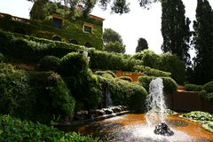 Santa Clotilde gardens. Trees, bushes and statues in Santa Clotilde gardens, Lloret de Mar , Spain stock images