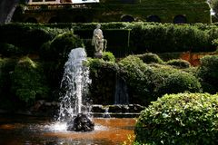 Santa Clotilde gardens. Trees, bushes and statues in Santa Clotilde gardens, Lloret de Mar , Spain royalty free stock images