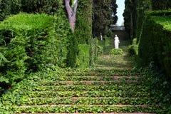 Santa Clotilde gardens. Trees, bushes and statues in Santa Clotilde gardens, Lloret de Mar , Spain stock photography