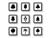 Trees on buttons set Royalty Free Stock Images