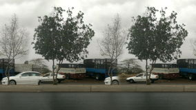 Trees and cars at Wet street after heavy rain loop. Trees and cars at Wet street after heavy rain seamless loop stock video footage